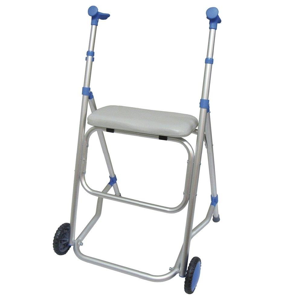 Andador de aluminio con ruedas y asiento. Tienda de Bastones